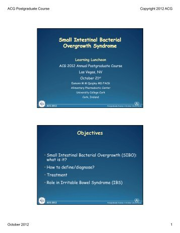 Small Intestinal Bacterial Overgrowth Syndrome - American College ...
