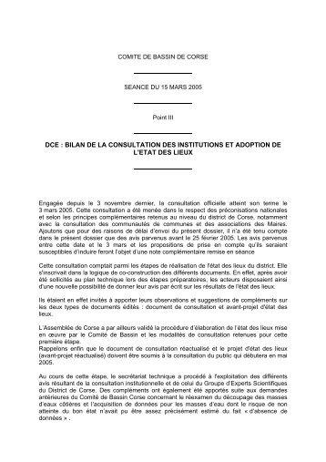 bilan de la consultation des institutions et adoption de l'etat des lieux