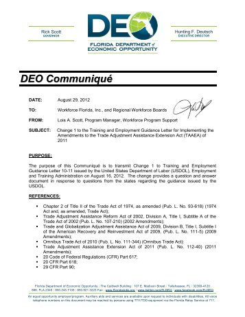 TEGL 10-11, Change 1 Operating Instructions for Implementing the ...