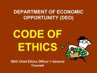 Ethics Training course. - Department of Economic Opportunity