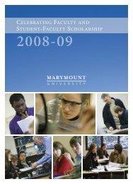 Celebrating Student-Faculty Scholarship 2008-09 - Marymount ...