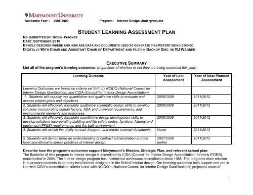 Student Learning Assessment Plan Marymount University