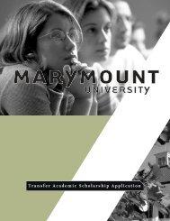 Transfer Academic Scholarship Application - Marymount University