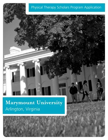 Physical Therapy Scholars Program Application - Marymount ...