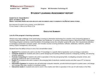student learning assessment report - Marymount University!