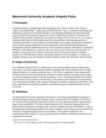 Marymount University Academic Integrity Policy