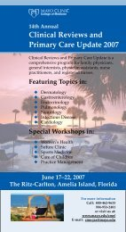 14th Annual Clinical Reviews And Primary Care ... - Mayo Clinic