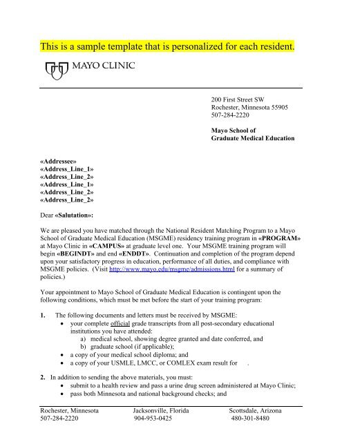 Sample Appointment Letter - Mayo Clinic