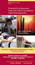 PreHospital Cardiovascular, Stroke and Critical Care ... - Mayo Clinic