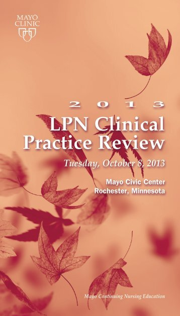 CNE - 2012 LPN Clinical practice Review Brochure ... - Mayo Clinic