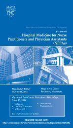 Hospital Medicine for Nurse Practitioners and ... - Mayo Clinic