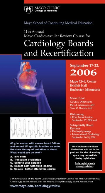 CME 12 Pg, 4-Color -Cardiology Board Reviews ... - Mayo Clinic