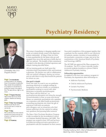 Psychiatry Resident Recruitment Booklet - MC6177-01 - Mayo Clinic