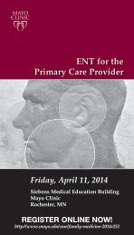 ENT for the Primary Care Physician - Mayo Clinic