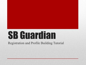 Registration and Profile Building Tutorial - Stony Brook University
