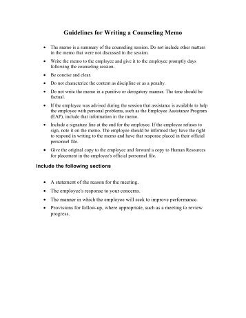 Counseling memo template to from date subject for Counseling memo template
