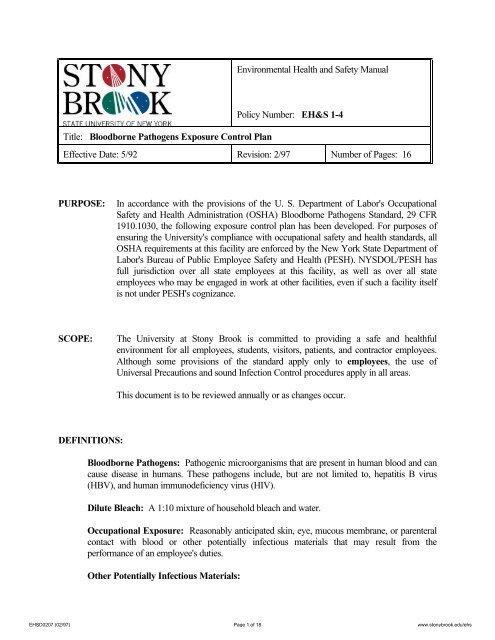 Bloodborne Pathogens Exposure Control Plan - Stony Brook ...