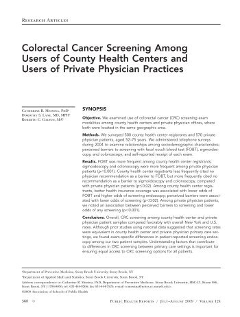Colorectal Cancer Screening Among Users of County Health ...