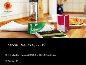 Financial Results Q3 2012 - Stora Enso