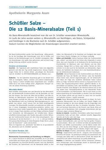 5/2013 (Mai) Schüßler Salze – Die 12 Basis-Mineralsalze