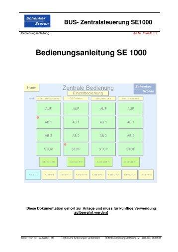 Bedienungsanleitung SE 1000 - Schenker Storen AG