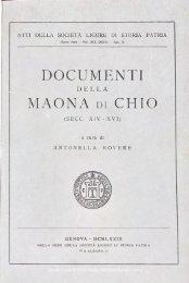 DOCUMENTI MAONA di CHIO - Società Ligure di Storia Patria