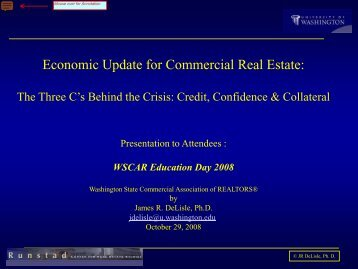 Economic Update for Commercial Real Estate: - Dr. James R. DeLisle