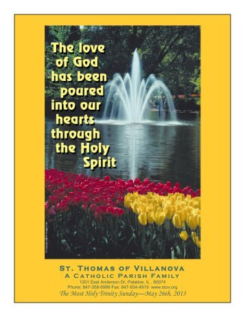 St. Thomas of Villanova The Most Holy Trinity Sunday—May 26th ...