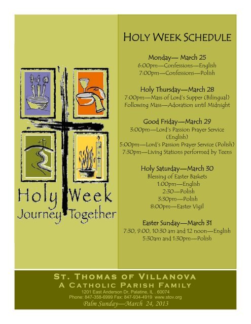 HOLY WEEK SCHEDULE - St  Thomas of Villanova