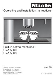 Operating and installation instructions Built-in coffee ... - Miele