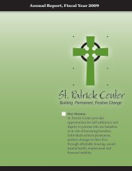 Annual Report, Fiscal Year 2009 - St. Patrick Center