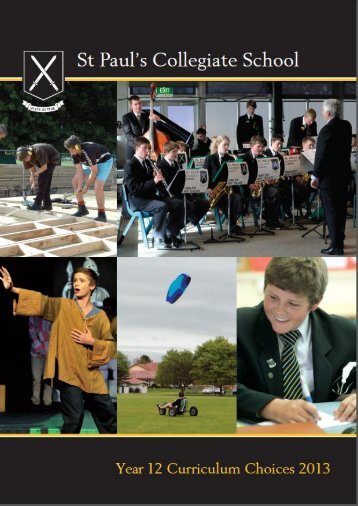 Year 12 curriculum choices 2013 - St Paul's Collegiate School
