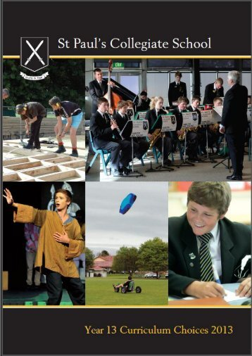 Year 13 curriculum choices 2013 - St Paul's Collegiate School
