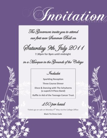 Summer Ball Invitation and Menu - St Paul's Catholic College