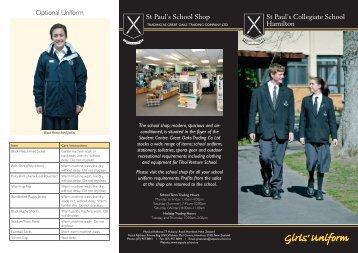 Girls' uniform Brochure - St Paul's Collegiate School