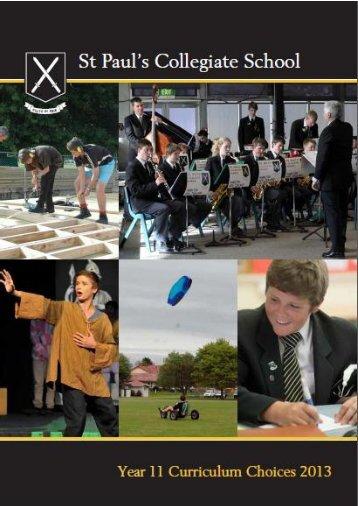 Year 11 curriculum choices 2013 - St Paul's Collegiate School