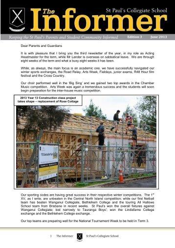 Edition 3 June 2013 - St Paul's Collegiate School