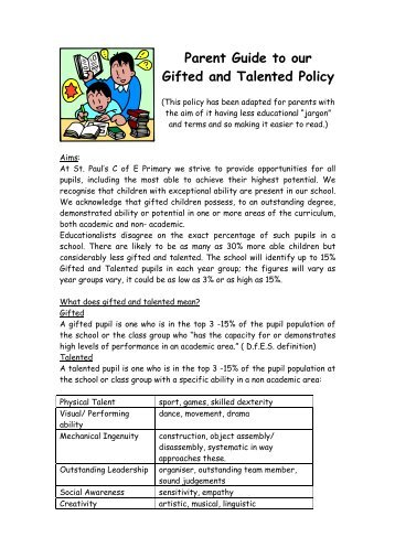 Gift and Talented Parent Guide - St Paul's C of E (Aided) Primary ...