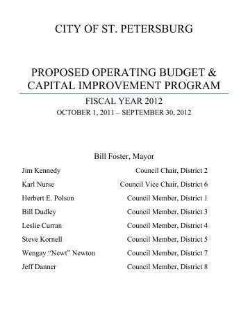 city of st. petersburg proposed operating budget & capital ...