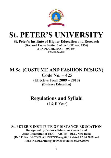 M Sc Costume And Fashion Design St Peter S University