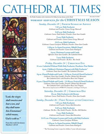worship services for the christMas season - The Cathedral of St. Philip