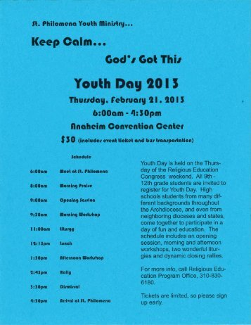 REP_RCIA Youth Day Ministry - St. Philomena Parish