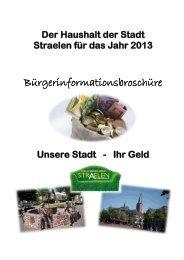 Der Haushalt der Stadt Straelen für das Jahr 2013