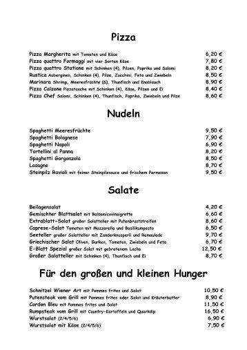 Pizza Nudeln Salate Für den großen und ... - Cafe Extrablatt Singen