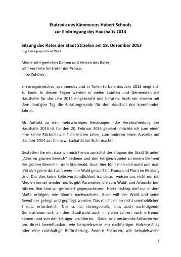 Etatrede des Kämmerers Hubert Schoofs zum ... - Stadt Straelen