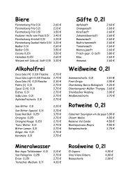 Rotweine 0,2l - Cafe Extrablatt Singen