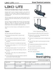 Strand Theatrical Luminaires Fixed and Variable Beam Angle ...