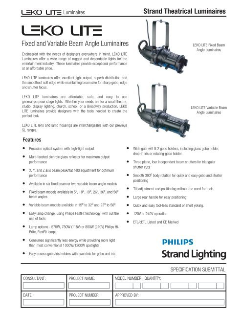 Strand Theatrical Luminaires Fixed and Variable ... - Strand Lighting