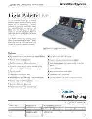 Light Palette Live Datasheet - Strand Lighting