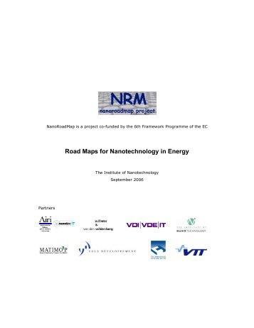 Road Maps for Nanotechnology in Energy - Nanowerk